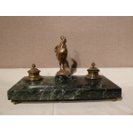 BRONZE AND MARBLE INKSTAND