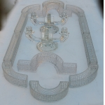 1900 'Centerpiece Table Runner in Molded Crystal from Baccarat Or St Louis 14 Pieces