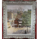 Abel Truchet Louis French Painting Belle Epoque Paris View Of Montmartre Oil On Canvas Signed