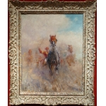 PECHAUBES Eugène Horse Racing Trots French School 20th Oil On Panel Signed