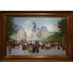 Leon Zeytline Russian School 20th Paris Republic Square Boulevard Du Temple Oil Signed