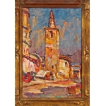 OIL ON CARDBOARD by Louis Pastour (1876-1948) Cannes -Chapelle de la Miséricorde-