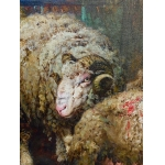 SHEEP IN THE SHEEPFOLD SIGNED A. KALLENBERG 1876
