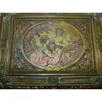 Charles Christofle gilded bronze Large Box A Jewelery Box A Decor By Francois Boucher And Palms In Bronze circa xix th empire Charles X restoration