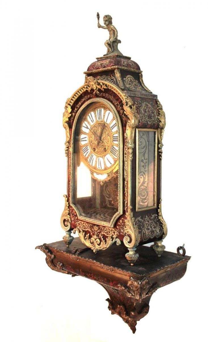 louis xv style clock with matching wall shelf
