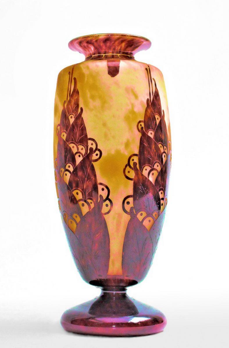 grand vase art d co sign le verre fran ais galerie tramway. Black Bedroom Furniture Sets. Home Design Ideas