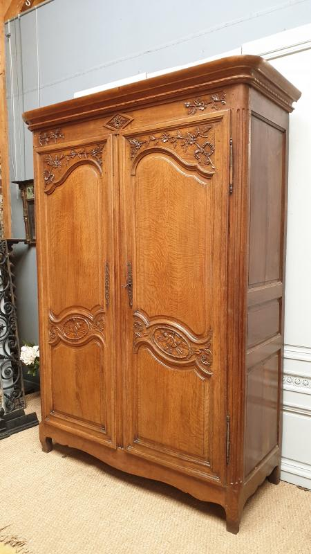19 Cth Oak Armoire Bookase French Antiques Fr