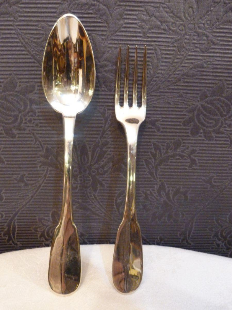 Pair Of Christofle Spoons And Forks Antiquites Armel Labbe