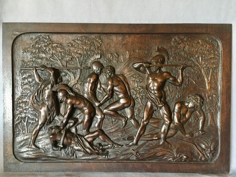 19th C CARVED WALNUT PANEL