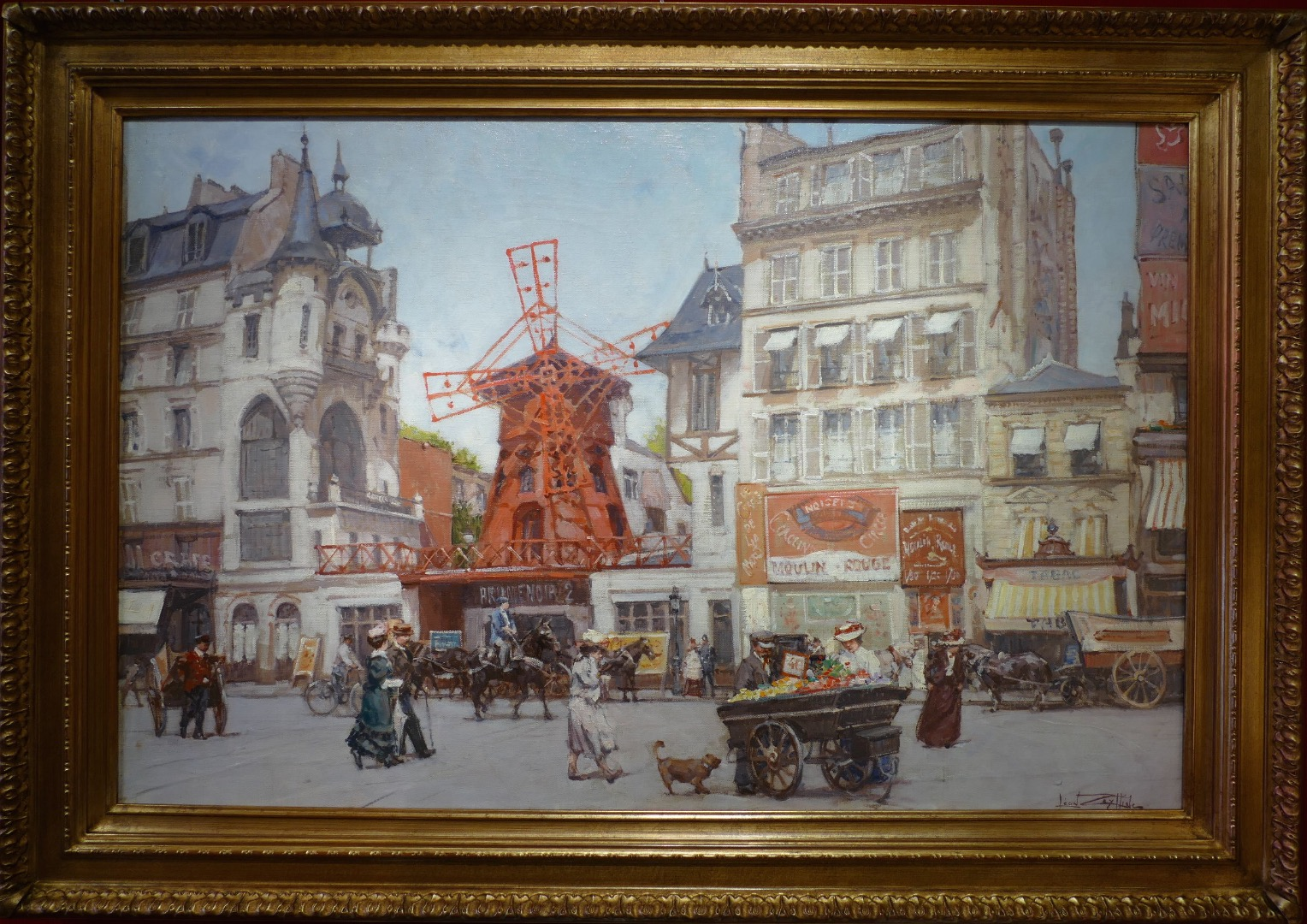 Leon ZEYTLINE Russian School 20Th Century View of Paris The Red Mill Oil on canvas signed