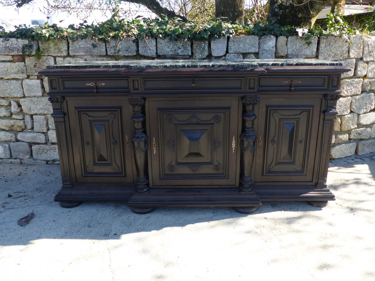 Buffet Sideboard carved Three Doors Napoleon III Period Blackened Wood xix th