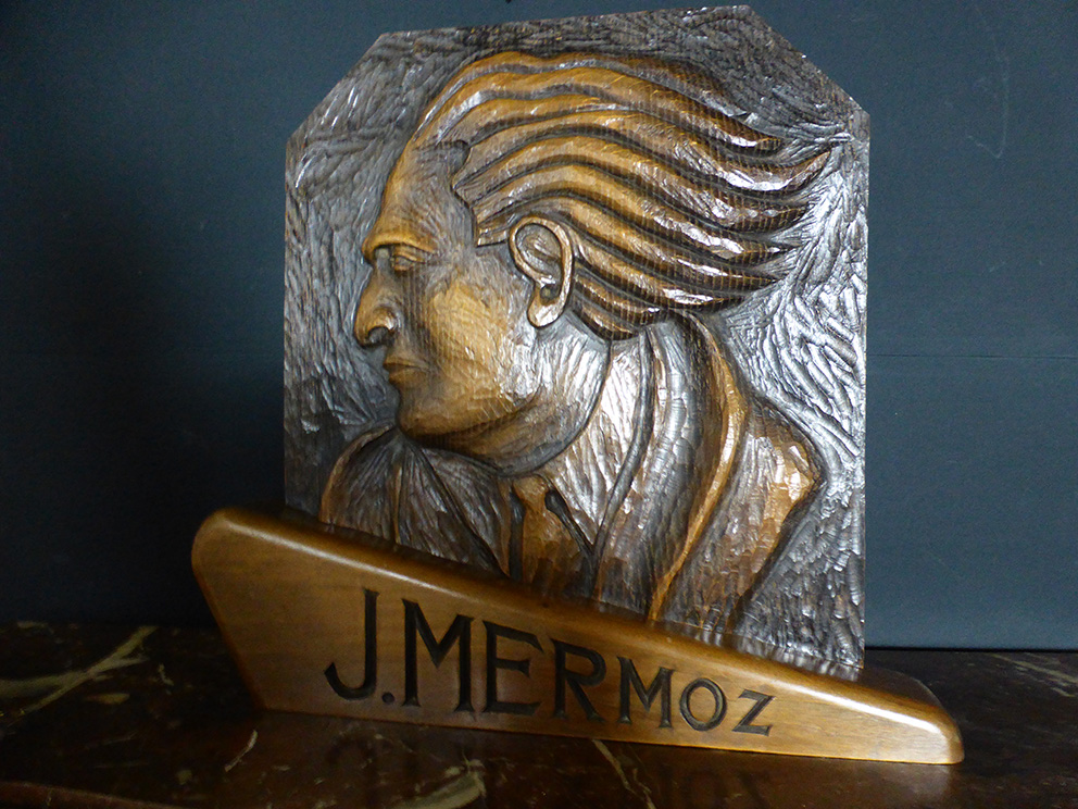 CARVED PANEL OF JEAN MERMOZ
