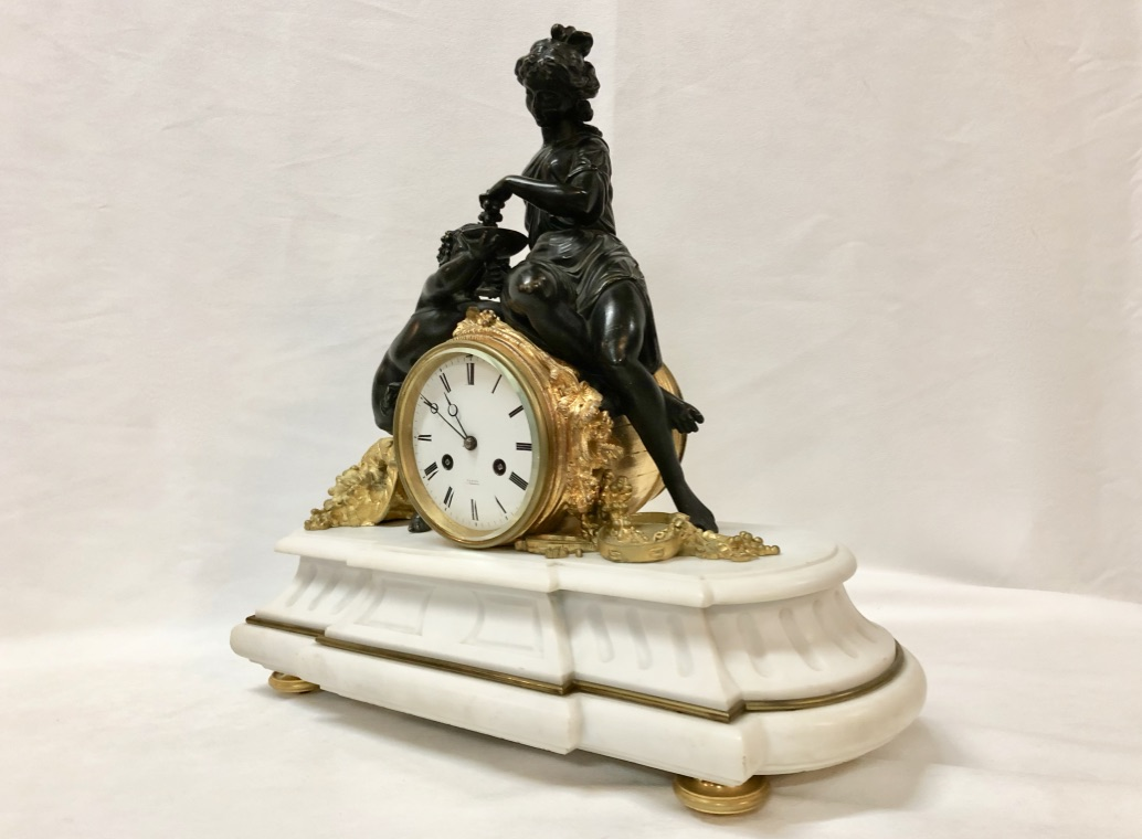MARBLE AND BRONZE CLOCK