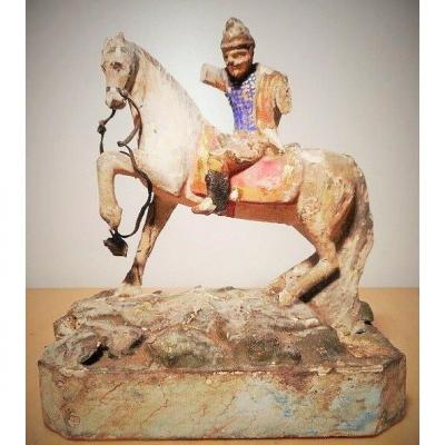 Rare Period 1 st Empire Napoleon rare Equestrian Statue Sculpture Carved Wood Soldier officer On horseback Europe wood Polychrome polychromy Ulan