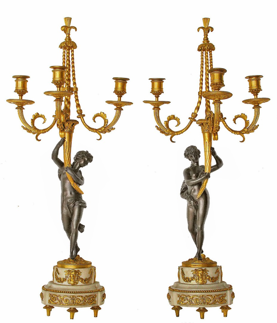 PAIR OF LOUIS XVI PERIOD CANDELABRA