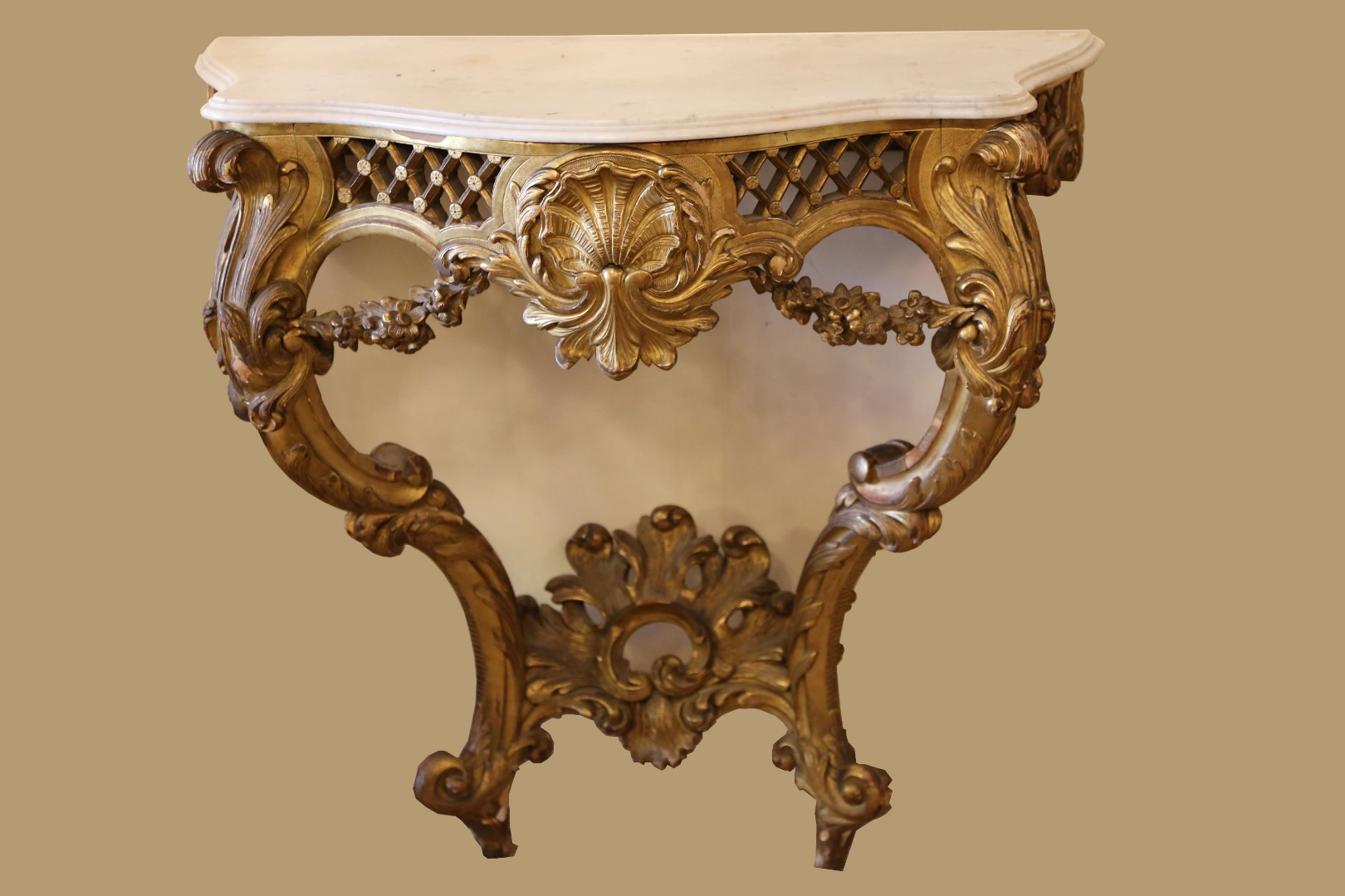 Console Louis XV Golden Wood Leaf