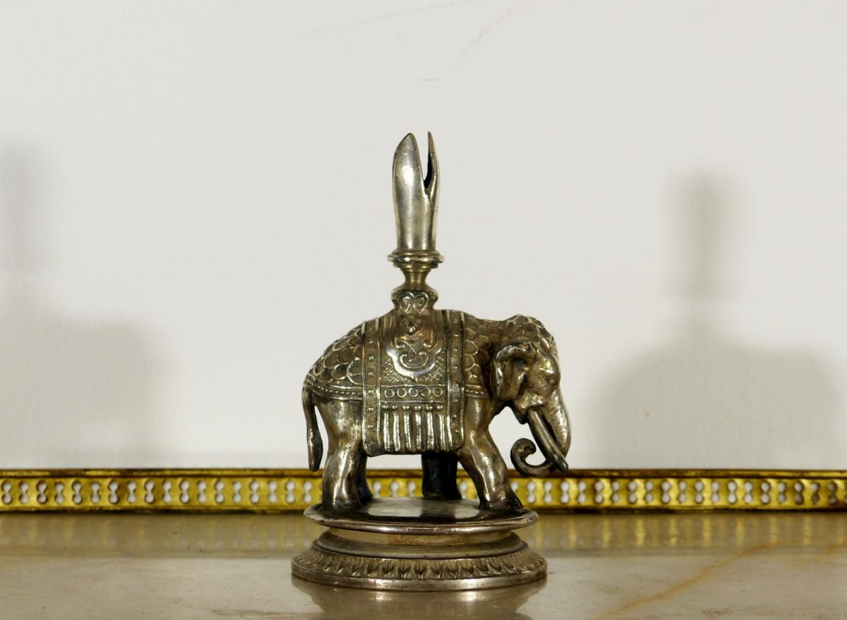 Japanese Silver Bronze Pen Holder XIX Elephant Carapaconne