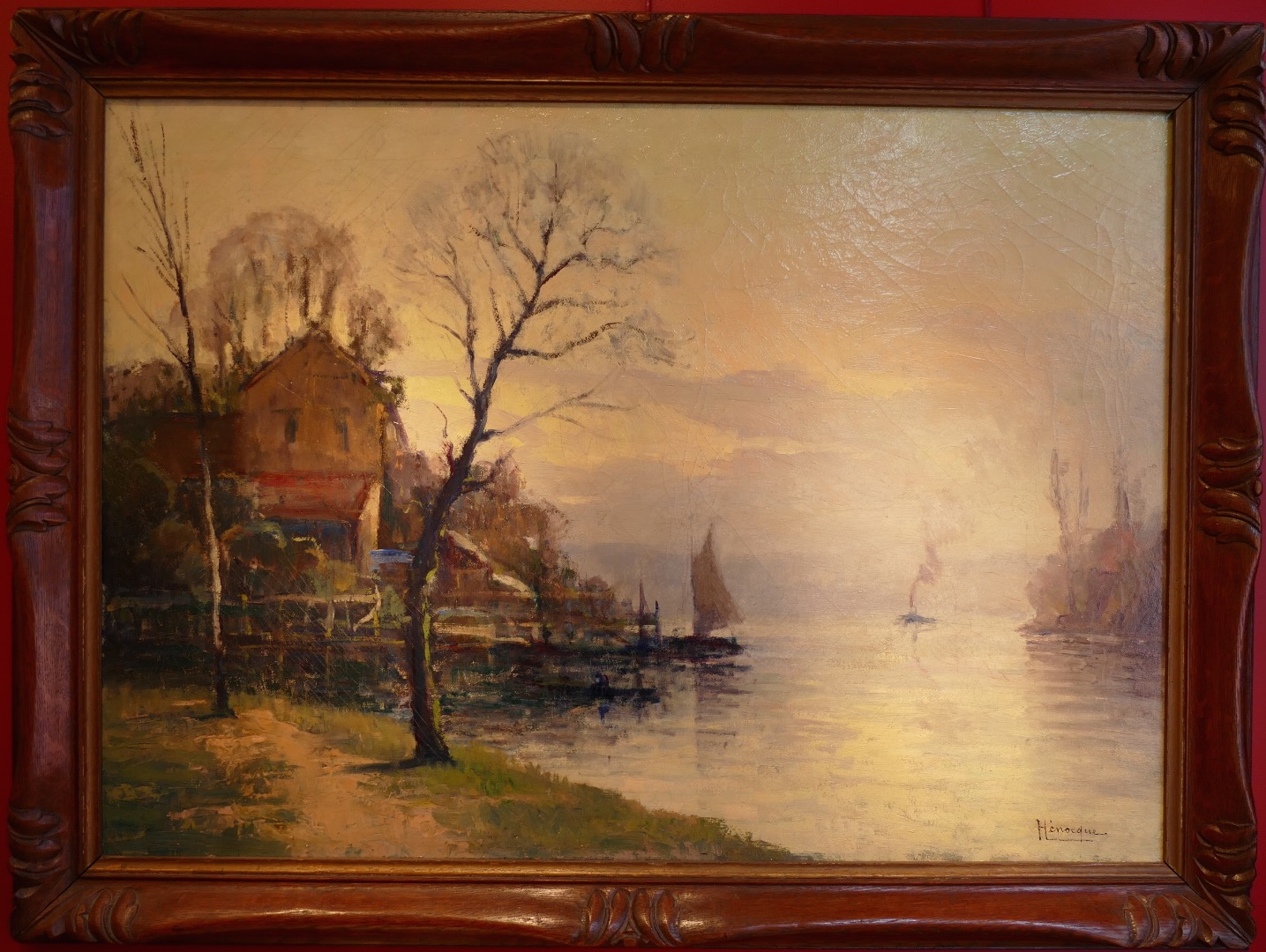 Henocque Narcisse Painting 20th Rouen School Oil On Canvas Signed The Banks Of The Seine