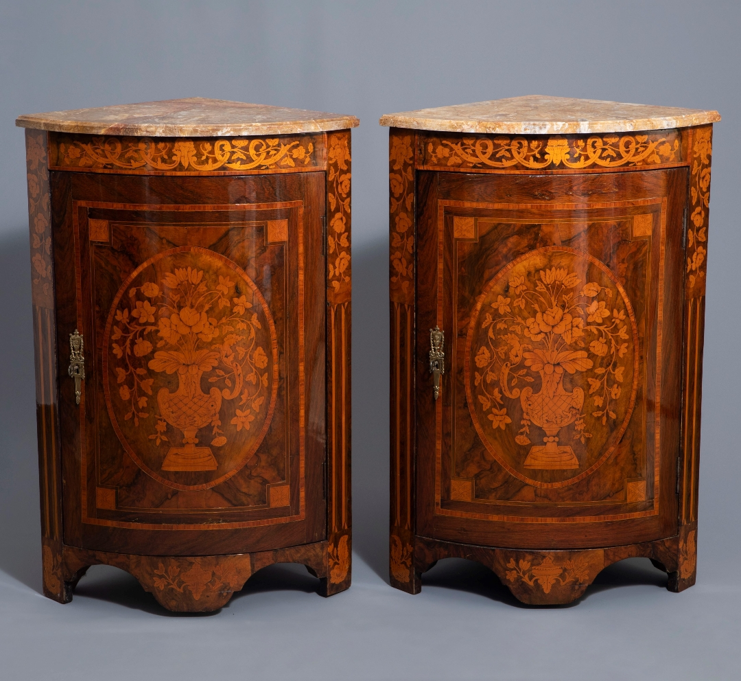 "Pair Of ""demi-lune"" Corner In Neoclassical Style Marquetry."