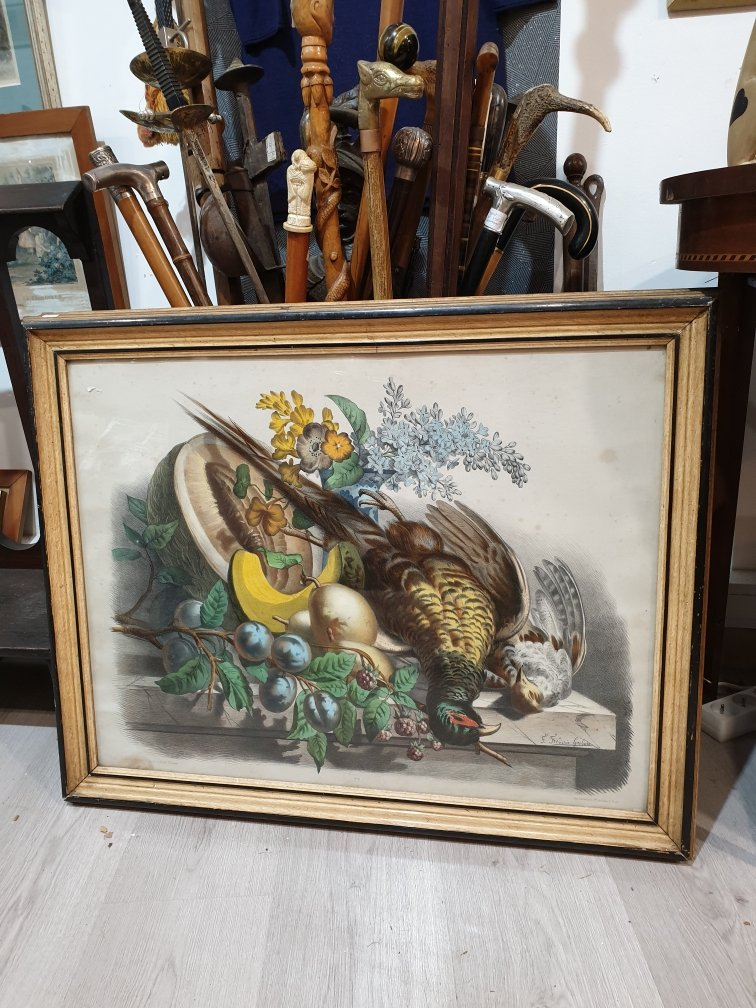 3 Large litho engravings in colors XIX th still life Hunting Relay Signed Game lithographs venerie rifles horse hunting at court horses