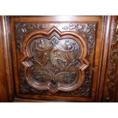 Carved ecclesiastical cupboard with phoenix dated 1789 Circa Louis XVI Louis XIV style Louis XV