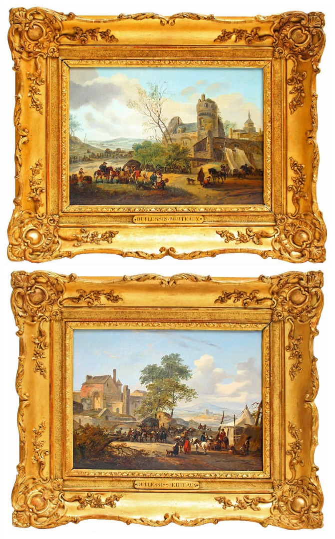 PAIR OF OIL ON PANELS by Jean Duplessis-Berteaux (1747-1819)