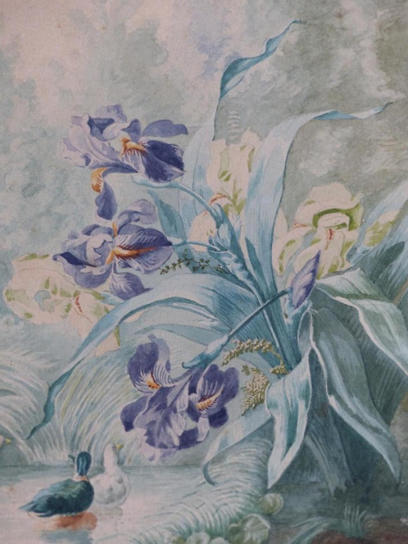 Watercolor Debut XX Eme Ducks With Japanese Irises Sign 1911