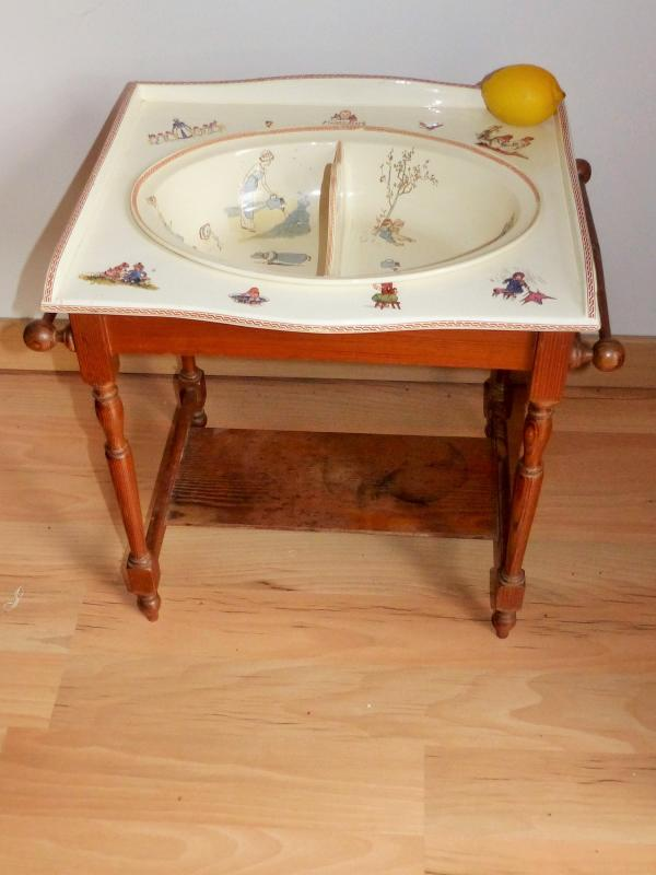 Rare Froment richard Baby Sink Cabinet Or Doll Toy Digoin Sarreguemines