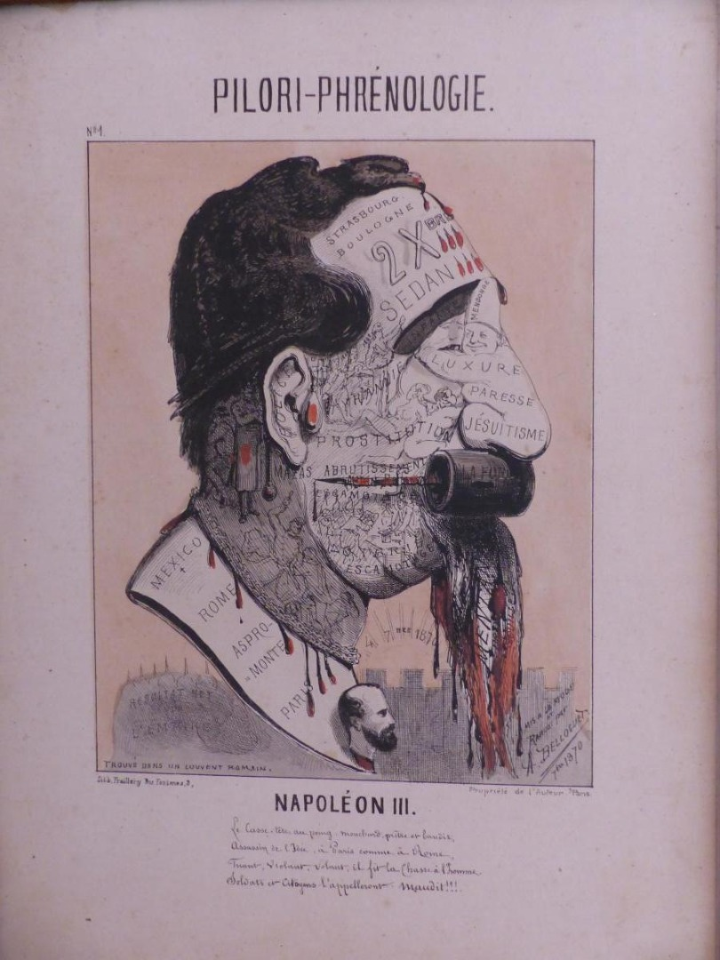 pillory phrenology n ° 1 print napoleon 3 rare - fresh - cabinet curiosite