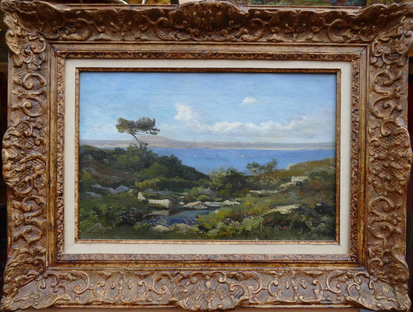 LANSYER Emmanuel Painting 19Th Century Mediterranean Landscape Oil On Canvas Signed And Dated