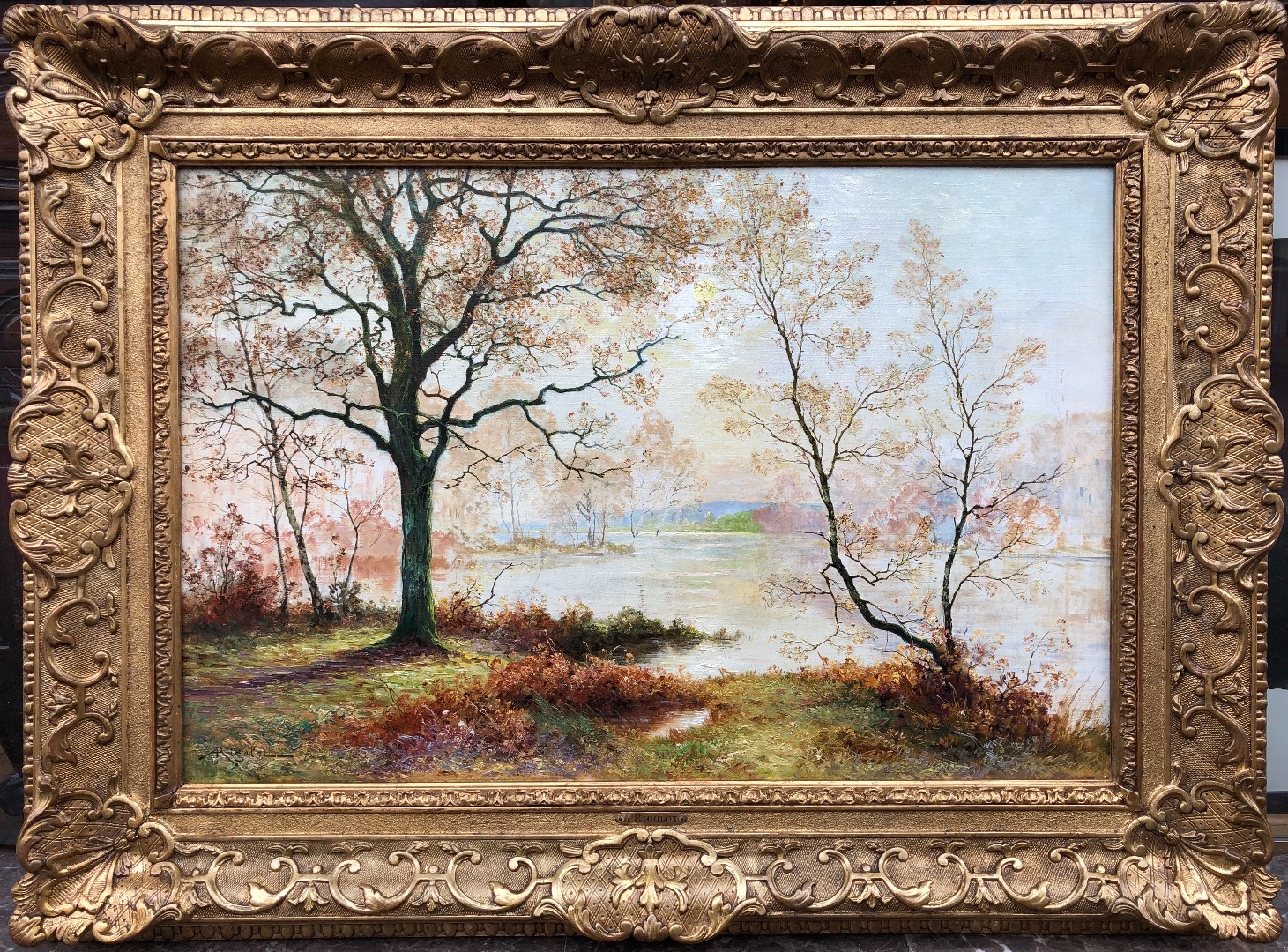 RIGOLOT Albert French School 19th century Oil on canvas signed Pond edge