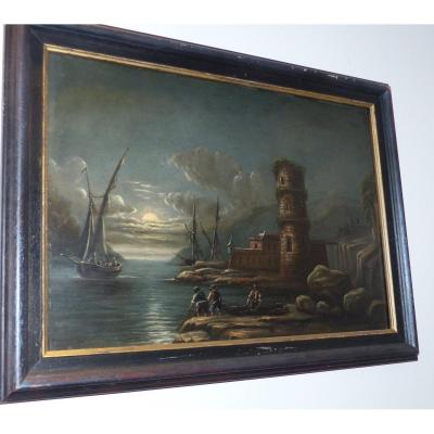 Night Marine Painting French School Of XVIII / XIX Century, Entourage Of Joseph Vernet Oil on panel boat sailors ruins