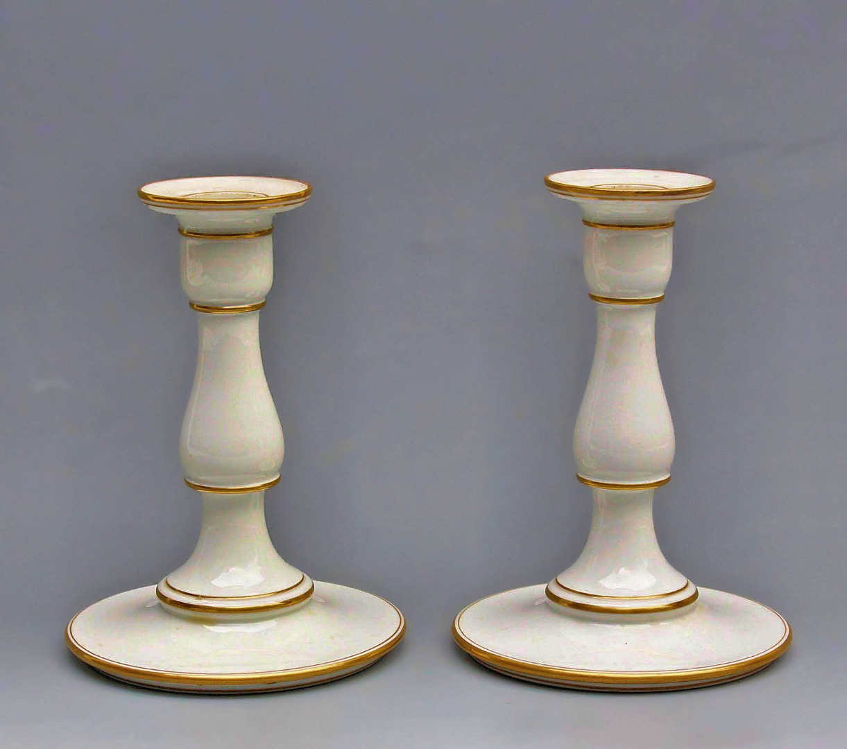 PAIR OF SEVRES PORCELAIN CANDLESTICKS