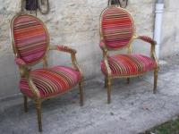 Pair of armchairs of Louis XVI style. Gilded Wood. Pierre Frey fabrics tissue
