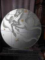 ETCHED GLASS PANEL SIGNED PIERRE DUMAS