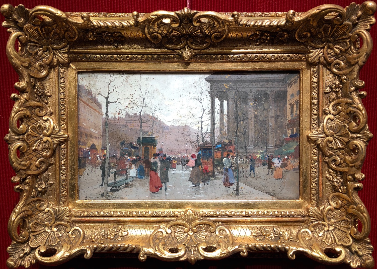 GALIEN LALOUE Eugène French painting 20th century Paris animation Boulevard des Capucines Place of the Madeleine Gouache signed