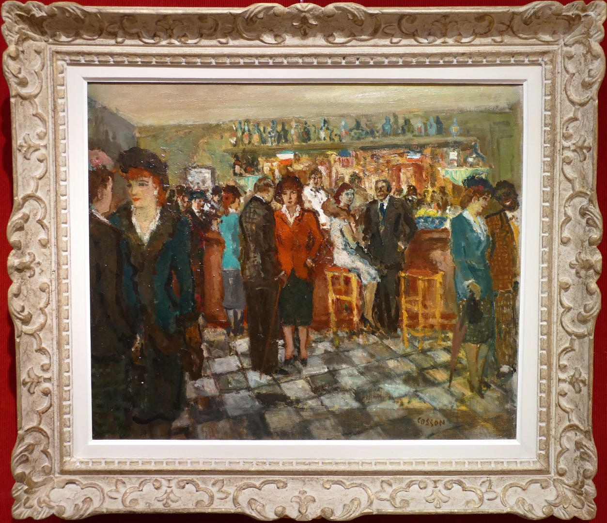 COSSON Marcel Painting XXth Paris Scene Animated In The Bar At Montmartre Oil on canvas Signed