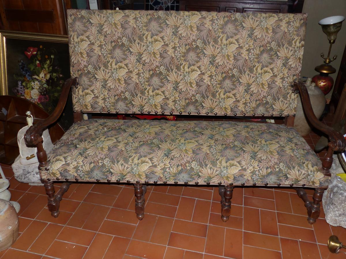NEOGOTHIC Bench Louis XIII Period XIX Tapestry Fabric