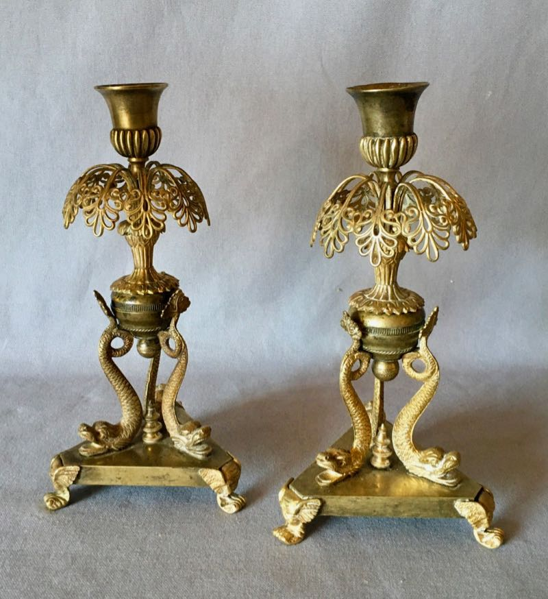 PAIR OF FRENCH RESTAURATION PERIOD CANDLESTICKS