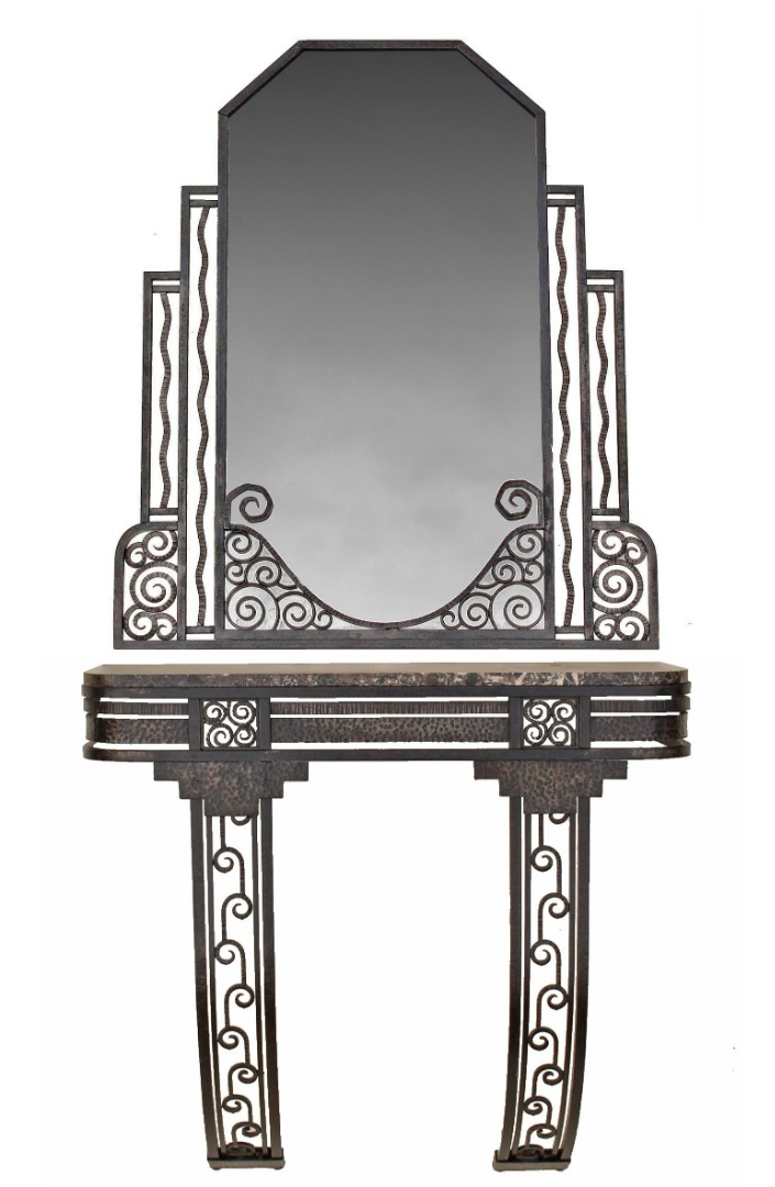 ART DECO PERIOD CONSOLE TABLE WITH MIRROR
