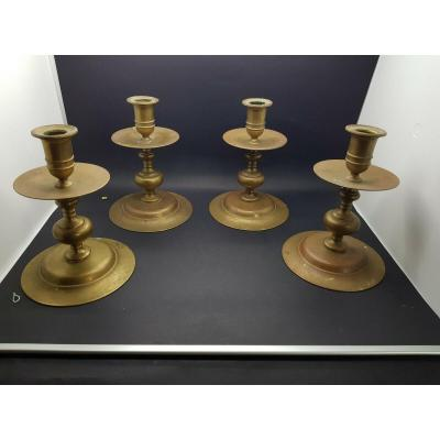 Rare Suite Of Four Candlesticks Haute Epoque XVI Eme Nuremberg