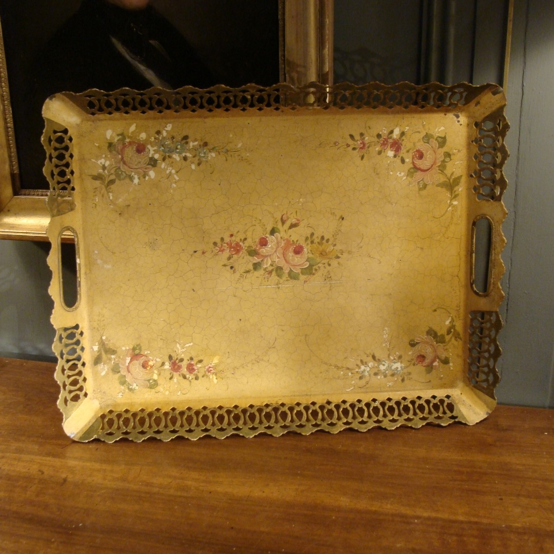 Painted Sheet Tray With Floral Decor