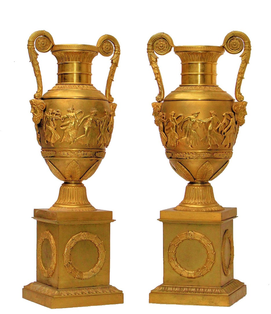 FRENCH EMPIRE PERIOD BRONZE VASES