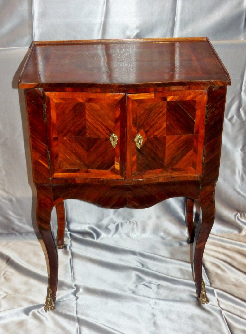 Rare Table A Snack Between Two Marquetry Period Louis XV Circa XVIII Eme Siecle