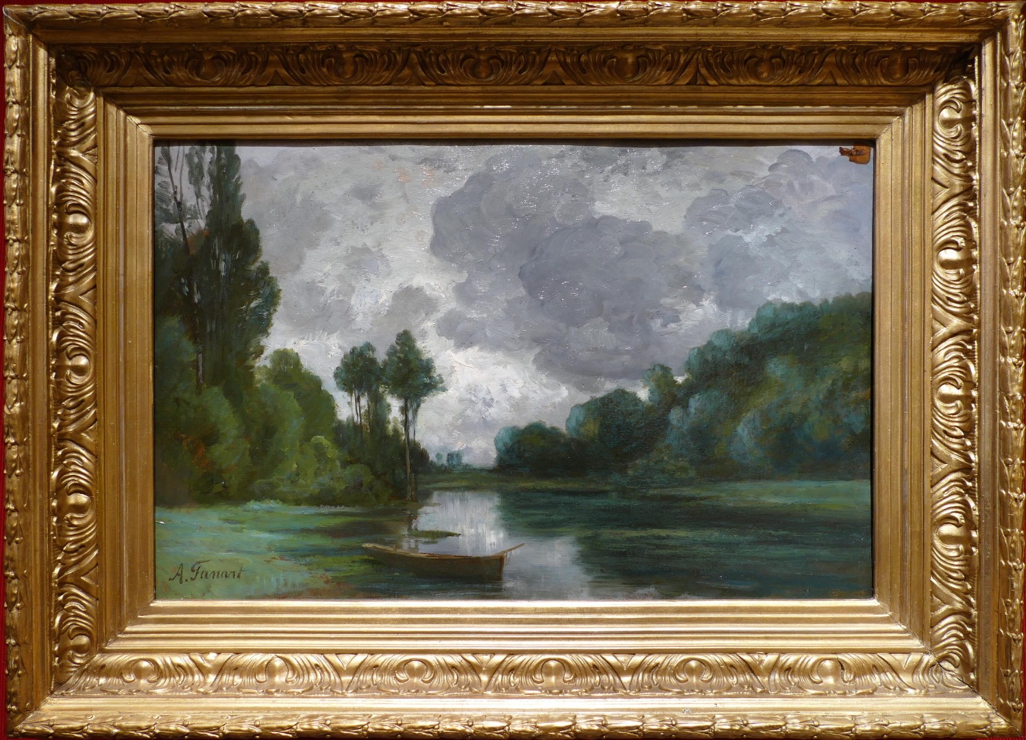FANART Antonin French Painting XIXth Century Riverside Oil On Cardboard Signed