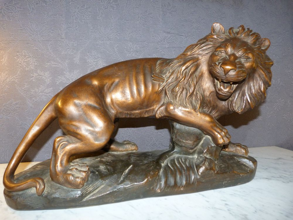 EARTHENWARE LION SIGNED A. JOLIVEAUX