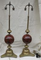 Pair of lamps bronze and iron balls painted in forgery marble Morello cherry