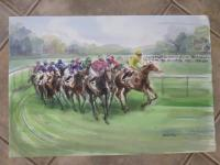 WATERCOLOUR OF A HORSE RACE SIGNED GUY FANTOU