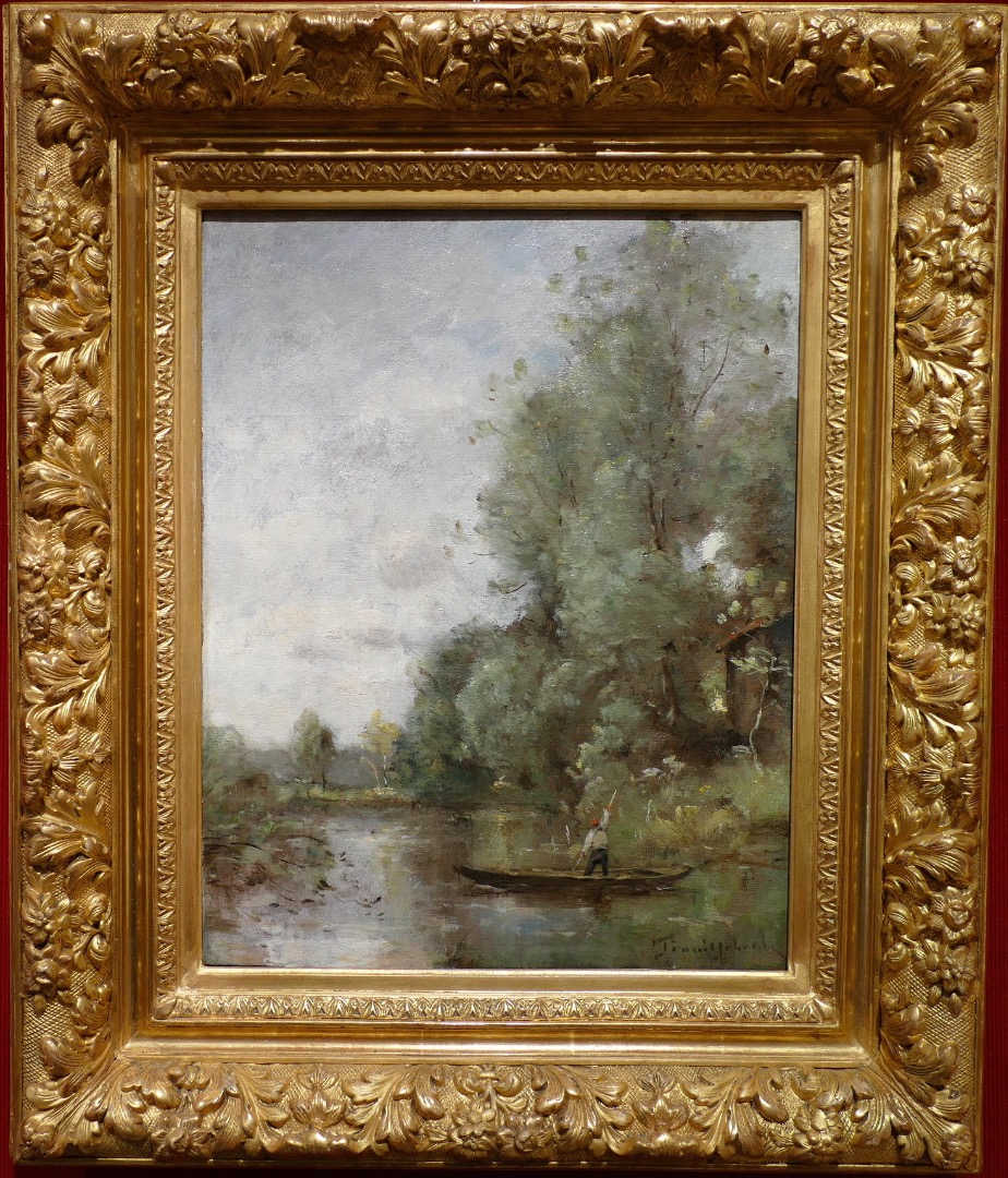TROUILLEBERT Paul Desire Painting 19Th Barbizon School Fisherman In His Boat Oil on Canvas Signed