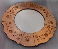 1970 'Coppered Mirror With Decor Decor Flowers Eglomised